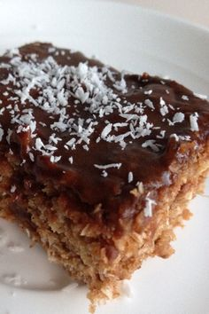 Healthy Chocolate Coconut Slice - only 123 calories per slice!