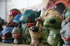 Community Post: The Adorably Bizarre Resin Monster Statues of Chris Ryniak Ceramic Monsters, Clay Monsters, Little Monsters, Cute Creatures, Fantasy Creatures, Fables D'esope, Wow Art, Paperclay, Monster Art