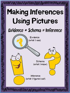 "INFERRING USING PICTURES~ Students who struggle with text have difficulty getting a complete ""picture"" of what's going on. One way to simplify instruction is to teach inferences using only picture clues. Pictures can be decoded more quickly and are accessible to all readers.  Includes 14 worksheets and 2 assessments.   $"