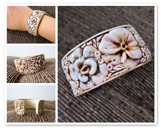 Ivory Flowers Cuff by rockybeads, via Flickr