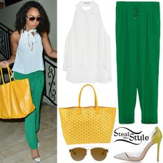 Little Mix was spotted arriving at their hotel in Los Angeles last night. Leigh-Anne Pinnock wore a Top with Tie Neck ($29.90) and Drawstring Waist Trousers ($39.90) both by Zara, a Goyard St Louis Tote Bag ($868.97), Dior Technologic Sunglasses ($530.00) and a pair of Gianvito Rossi White/Limpe Plexy Pumps ($440.00).