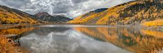 Red  Mountain - outside of Ouray, CO, Red Mountain and Aspens in full color reflect onto Crystal Lake