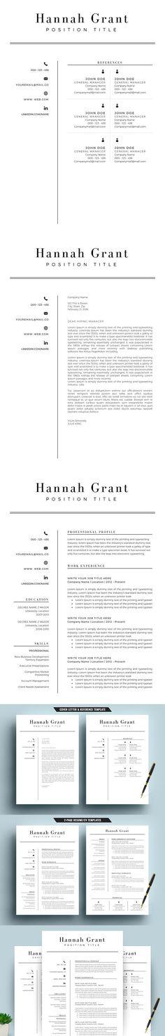 Word Resume Template  Cover Letter Portfoilo Pinterest