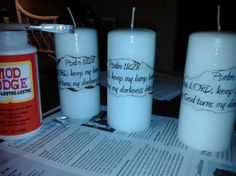 Candle, Mod Podge, and printed paper. I burned the edges of the paper. I painted the Mod Podge over the whole candle to give it a nice glazed look. I used a Bible verse, but I got the idea from someone giving me one with my high school graduation announcement on it.