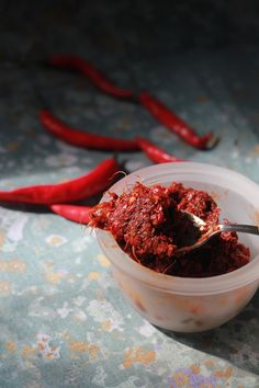 Homemade Red chili paste - not for the faint hearted.