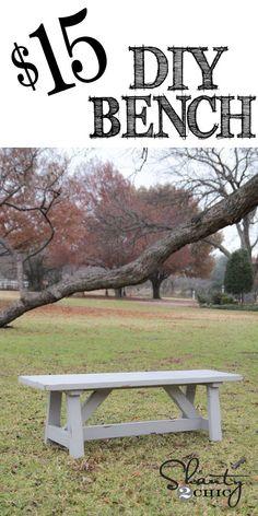 Easy DIY 15 Bench at Perfect for indoor or outdoor LOVE it Diy Pergola, Pergola Design, Diy Patio, Easy Woodworking Projects, Woodworking Bench, Diy Wood Projects, Woodworking Techniques, Fine Woodworking, Woodworking Classes