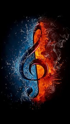 treble clef in fire and water. illustration of the treble clef enveloped in elements isolated on black background. high resolution treble clef in fire and water image for a musical concert poster. Music Mix, Sound Of Music, Music Is Life, Music Drawings, Music Artwork, Musik Wallpaper, Galaxy Wallpaper, Wallpaper Desktop, Music Pictures