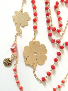#BlackFriday #smallbusinessSaturday #CyberMonday weekend BIG SALE 25% Off on entire shop Gold Red Necklace Long Crystal Red Necklace, Gold Clover necklace charm #christmasgift #unique #originalgifts #christmastime #giftforher #etsy #handmade #shopsmall #epiconetsy #jewelry #handmadejewelry