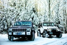 Brothers from other mothers - a buddy and I got out for the first time on NYE (90 XJ & 97 TJ) #jeep #jeeplife #Wrangler #jeeps #Cherokee #JeepMafia #offroad #4x4