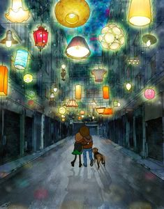 """nothing really ends    This illustration is inspired by an installation that was held in a small alley of Thessaloniki (Greece) by the very talented """"beforelight""""  The wonderful team behind this fantastic initiative has done the same in Athens , Psurrh"""