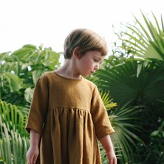 Linen Lark Dress - Ochre - 18m-9y