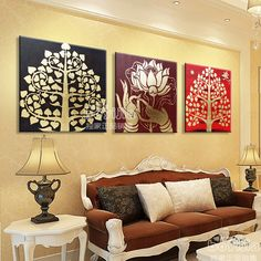 Aliexpress.com : Buy Hand painted gold evil spirits lucky painting bodhi tree bergamot lotus oil painting from Reliable knife painting suppliers on Angel Tears lighting Co.,Ltd.. $135.13