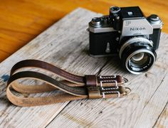 Nikon Photomic Ftn - L E G A C Y leather camera wrist strap - Horween Chromexcel | Hand stitched