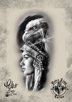 India and eagle designs Native tattoos Black and white designs - India and eagle designs Native tattoos Black and white designs - Native American Drawing, Native American Face Paint, Native American Tattoos, Native Tattoos, Eagle Tattoos, Tatuajes Tattoos, Kunst Tattoos, Body Art Tattoos, Tattoo Drawings