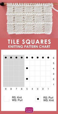 Tile Squares Stitch Knitting Pattern - Knitting Chart of the Tile Squares Stitch creates blocks of Stockinette separated vertically with the Seed Stitch and a horizontal ridge of purls. Knitting Squares, Knitting Stiches, Knitting Charts, Easy Knitting, Knitting For Beginners, Loom Knitting, Knitting Patterns Free, Knit Patterns, Stitch Patterns