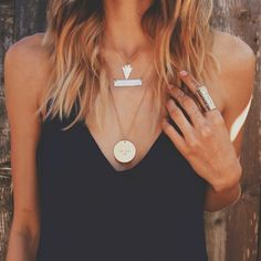 Shop The Look ... Mini Arrowhead + Large Coin + Hammered Bar Necklace + Gold Cuff Ring #HandMadeJewelry #Jewelry #BohoStyle
