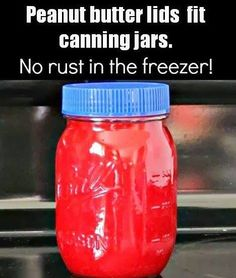 I bought some plastic ball jar lids this summer to use on canned leftovers, I normally don't store my canned goodness with bands, it just isn't necessary once the jars are sealed. This leaves me with jars that need lids once opened but not all the way consumed, jam...Apple sauce...marinara. This is perfect!  We go through a ton of peanut butter in this house!  Lots of lids!  Yeah!