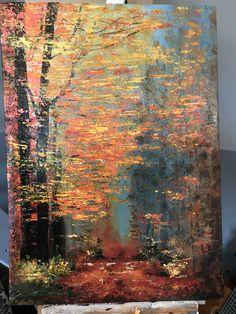 Forest at fall horizontal leaves acrylic