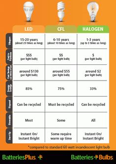 Light Bulb Energy Efficiency Calculator - Infographic via Batteries Plus
