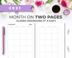 2021 Minimal Printable Monthly Calendar Insert for Classic image 0 Weekly Planner Printable, Monthly Planner, Happy Planner, Classic Image, Printer Paper, Color Calibration, Planner Inserts, Planner Ideas, Keep In Mind