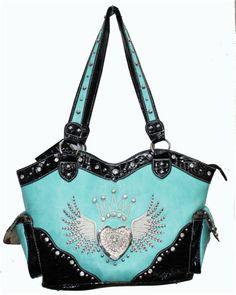 Turquoise Rhinestone Wing Crown Heart Purse