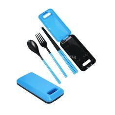 Blue Portable Folding Cute Travel Fork Spork Set Dinnerware for Adult Kids Cutlery Camping Picnic Set Gift Box KCS