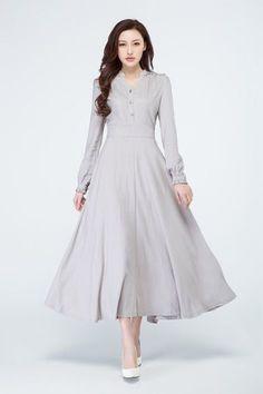 light grey dress linen dress women party dress shirt dress