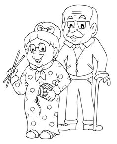 Grandparents Day Coloring Pages - Best Coloring Pages For Kids Family Coloring Pages, Colouring Pages, Free Coloring, Coloring Pages For Kids, Coloring Sheets, Coloring Books, Cartoon Grandma, Wood Carving For Beginners, Printable Christmas Coloring Pages
