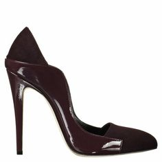 Single sole patent and suede mix contoured vamp pump | Brian Atwood