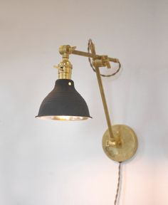 Industrial Brass Wall Lamp O.C. White Style by LongMadeCo on Etsy