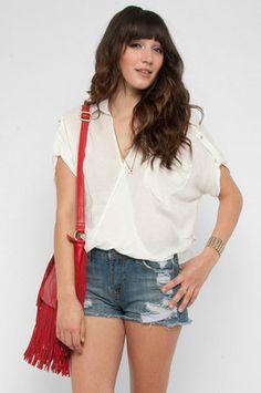 Turn Around Blouse in Off White $48 at www.tobi.com