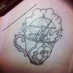 #teacup #storm #tempest #tattoo #tattoos #sketch #process #umbrella #lightning #rain #water #rose - Guen Douglas, Amsterdam