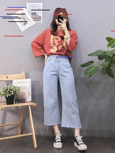 koreanische mode outfits 8286 Source by ayetrkolu Red Fashion Outfits, Mode Outfits, Look Fashion, Trendy Fashion, Girl Fashion, Casual Outfits, Fashion Kids, Fashion Shoes, Urban Outfits