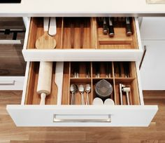 Open counter level drawer revealing hidden cutlery drawer, both with bamboo organisers -ikea Ikea Kitchen Drawer Organization, Ikea Kitchen Drawers, Ikea Drawers, Ikea Kitchen Cabinets, Kitchen Cabinet Interior, Affordable Furniture, Cuisines Design, Kitchen And Bath, Home Kitchens