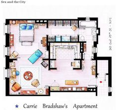 Famous TV Show Floor Plan-- Sex and the City, Carrie Bradshaw