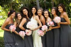 Charcoal Bridesmaid dresses w/ pink flowers