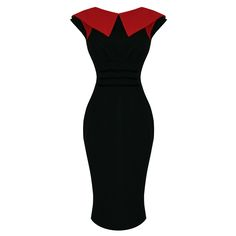 Miss Candyfloss Black RED 1950s Vintage Fitted Pencil Wiggle Career Work Dress | eBay