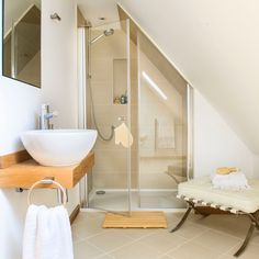 Tiny bathroom Sloped Ceiling - Bathroom suites that make the most of awkward spaces. Bathroom Suites, Shower Room, Small Space Bathroom, Small Bathroom Decor, Sloped Ceiling Bathroom, Loft Room, Loft Bathroom, Bathroom Design, Bathroom Decor