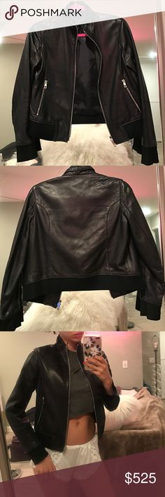 Rag & Bone Leather Jacket Rag & Bone• 100% Caviar Lamb Leather w Silk Lining - Quality Silver Zipper• Bomber Jacket• This is the softest most beautiful leather money can buy. No scratches or damage. I love this jacket just don't wear it anymore. I hope it finds a good home it will last forever. rag & bone Jackets & Coats
