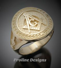 Masonic Moral Compass ring in Gold by Proline Designs