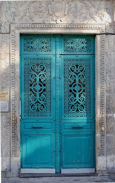 "Turquoise doors, Morocco. Previous pinner wrote: ""Memories of Morocco: Mint tea, pomegranate salad, a roof top terrace, and the late afternoon sun."" Sounds lovely. :) #portals #entrance #doors # turquoise #color #morocco #travel"