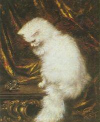 A CAT WHITE CONTEMPLATIVE par Carl Kahler