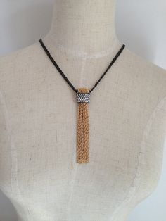 Long Tassel Necklace Pendant Necklace with Gold by Necklace2014, $8.00