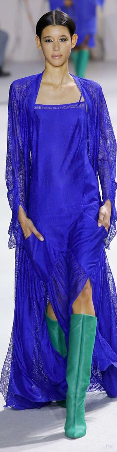 Fall 2018 RTW Akris Fashion Labels, Fall Looks, Fashion 2018, Electric Blue, Shades Of Blue, Evening Gowns, Ready To Wear, Dress Up, Couture