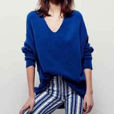 flash saleFree People softly Vee sweater New with tags, gorgeous blue oversized v-neck sweater by Free People. Free People Sweaters V-Necks