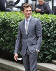 Pin for Later: Jamie Dornan Looks Dapper While Reshooting Fifty Shades Scenes