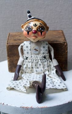Sweet Vintage Style French Clown in Shades of by millercampbell