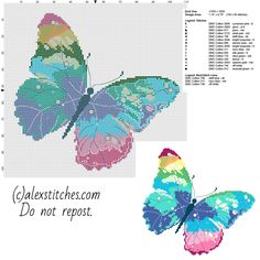 A multicolored butterfly free pcstitch cross stitch pattern