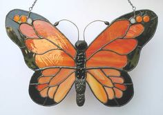 Monarch by mysticfeline on DeviantArt Stained Glass Ornaments, Stained Glass Flowers, Stained Glass Suncatchers, Stained Glass Crafts, Stained Glass Designs, Stained Glass Panels, Stained Glass Patterns, Butterfly Mosaic, Glass Butterfly