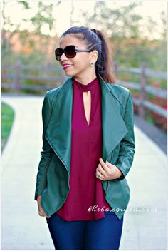 Green Drape Jacket, Faux Leather Jacket, BB Dakota, Winter Style, Winter Fashion, Winter Style, Wantable Style Edit, Wantable Reviews